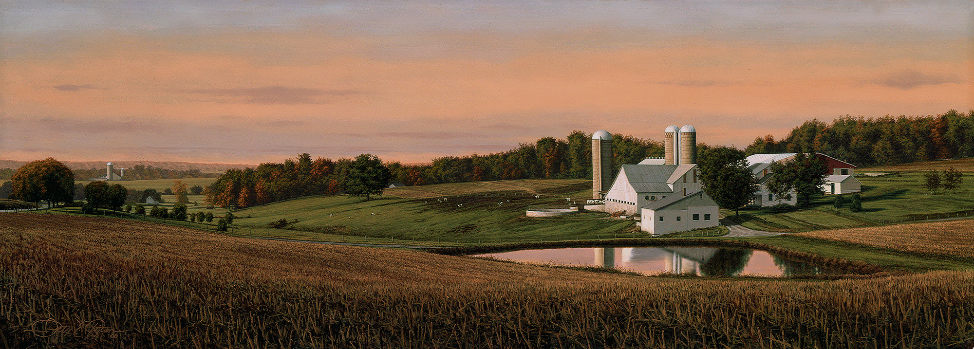 """""""After the Harvest"""", 11"""" x 30"""", oil on panel"""