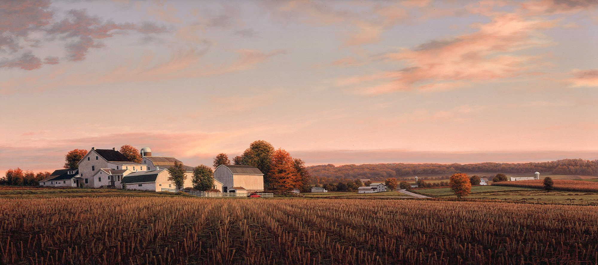 """""""Afterglow"""", 14"""" x 30"""", oil on panel"""
