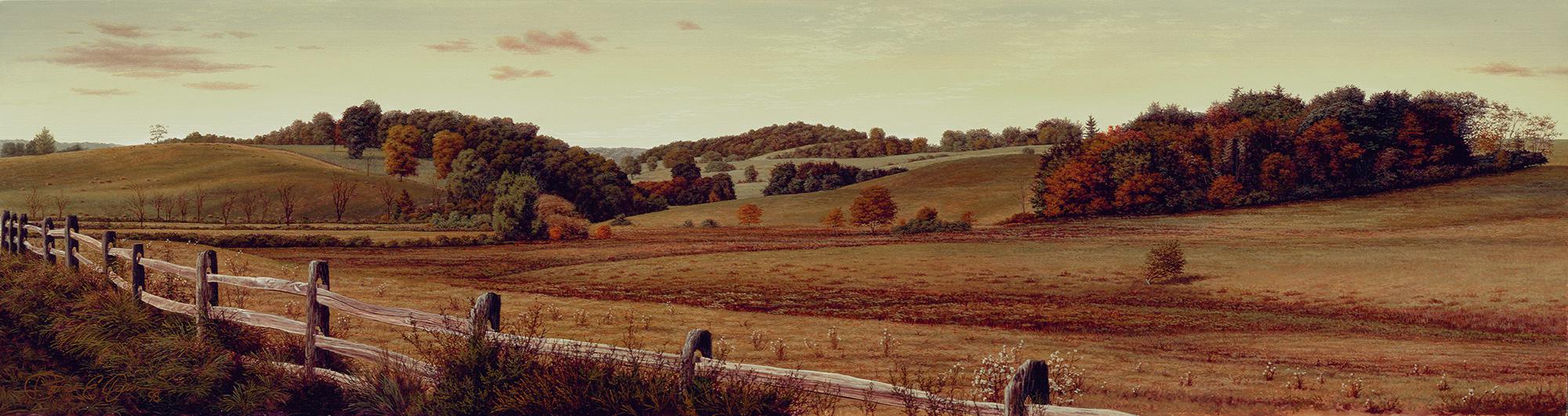 """""""Autumn Hills"""", 6"""" x 22½"""", oil on panel"""