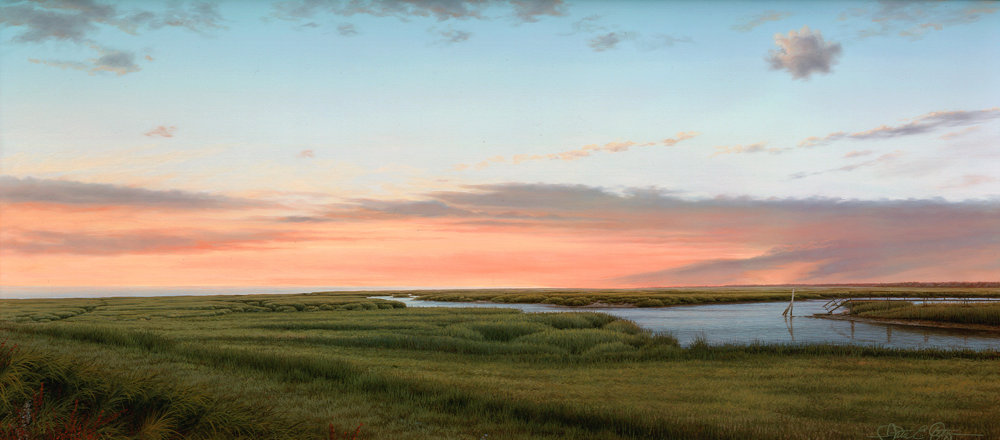 """""""Before Night Falls"""", 12"""" x 26"""", oil on panel"""