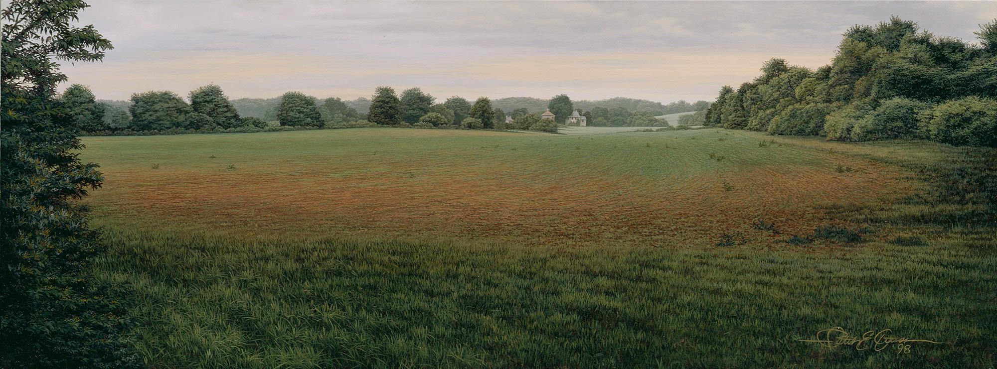 """""""Morning Honeysuckle"""", 9½"""" x 25"""", oil on panel"""