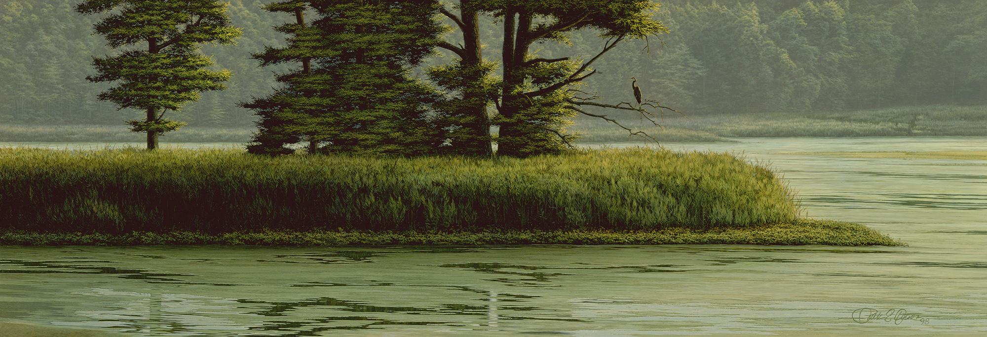 """Sunshower, Great Blue Heron"", 10½"" x 30"", oil on panel"