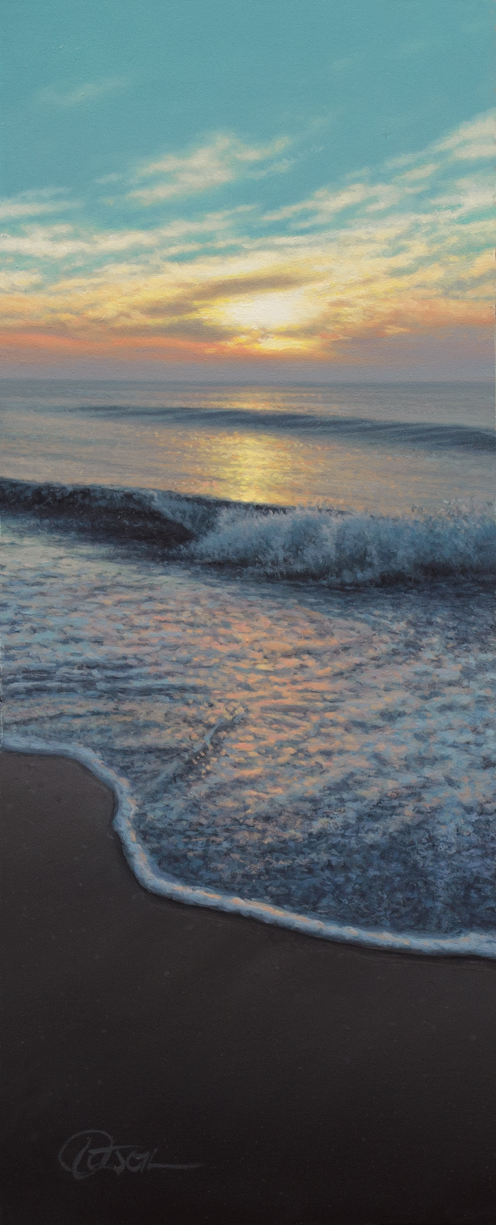 """Light and Waves"", 7"" x 2½"", oil on panel"